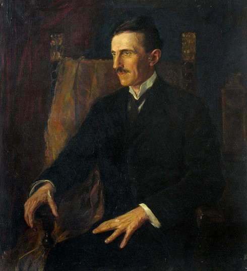 the blue portrait of Nikola Tesla