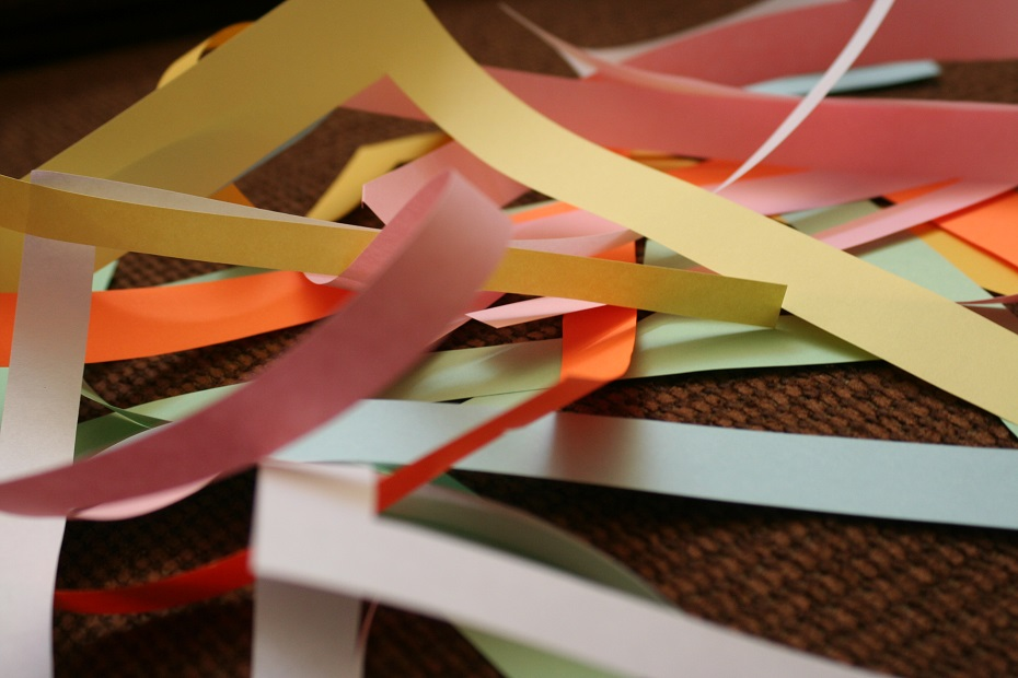 Shreds of brightly colored paper