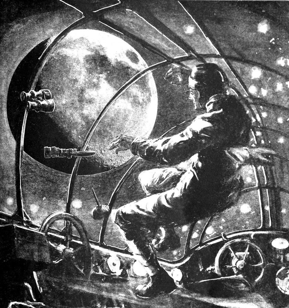An archaic drawing of a man floating in space whilst looking out at the Moon