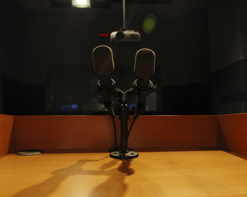 Microphones at a podium