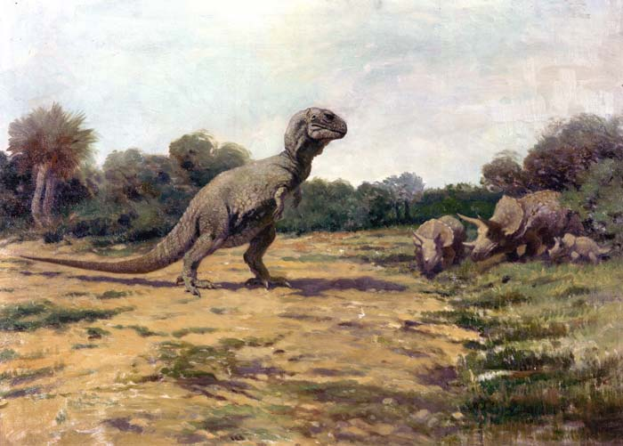 An outdated depiction of a T. Rex facing a herd of Triceratops