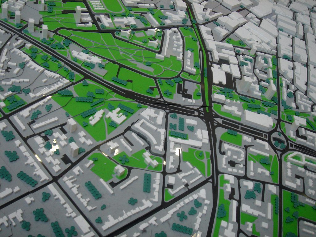 the overhead view of a city planning model