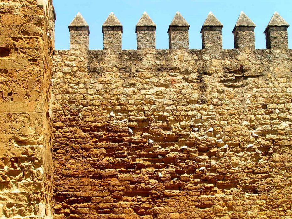 the inner wall of a fortress