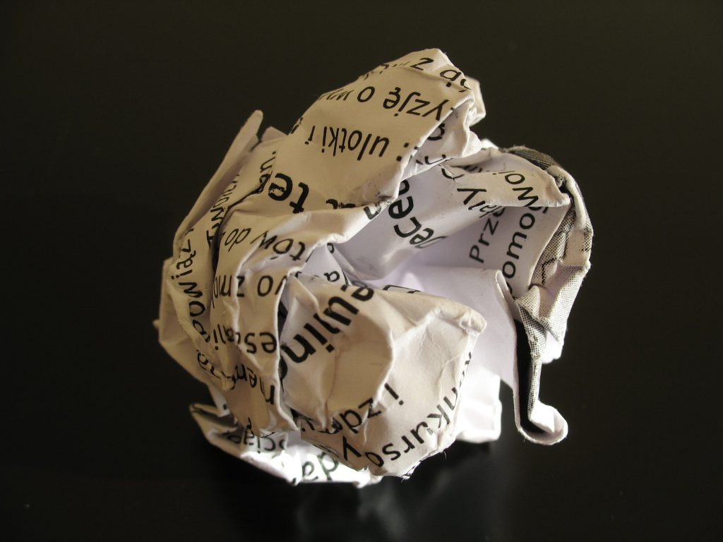 a ball of crumpled paper
