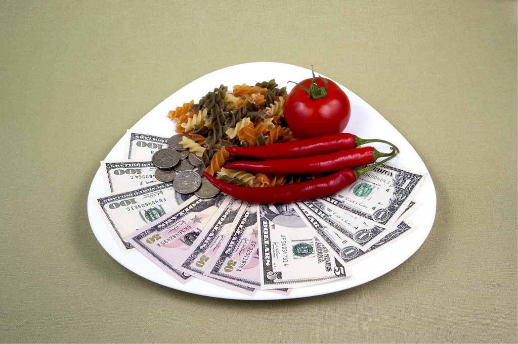 a plate of food stacked on top of an array of twenty dollar bills