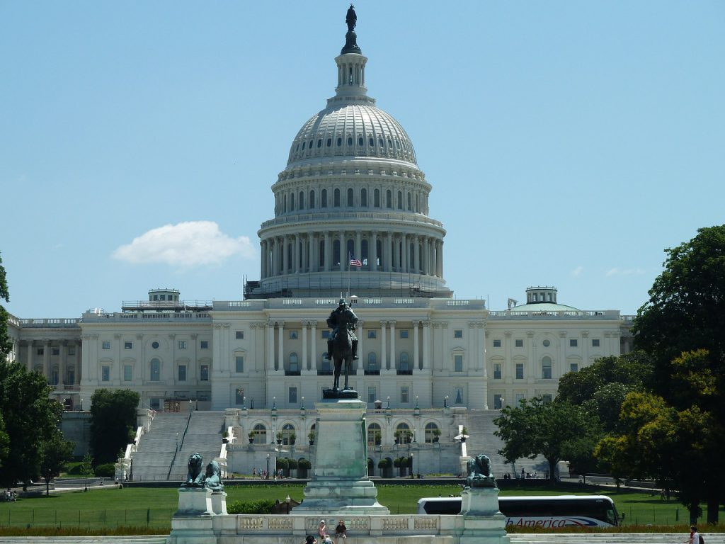 the United States Capitol building on a sunny day