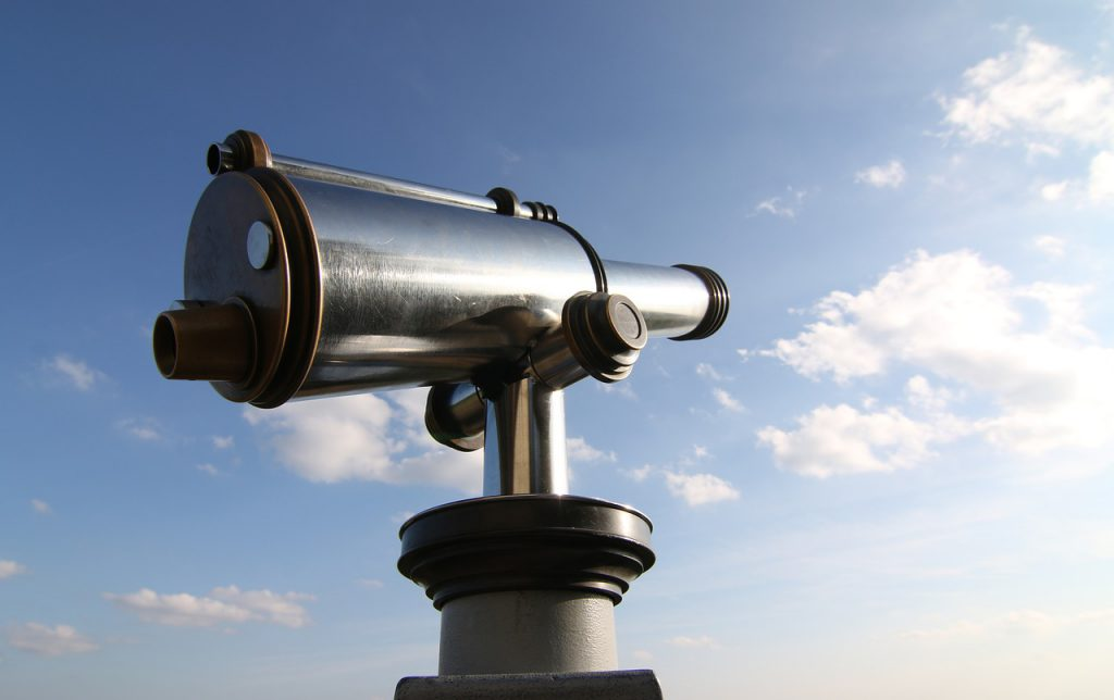a telescope aimed at the sky