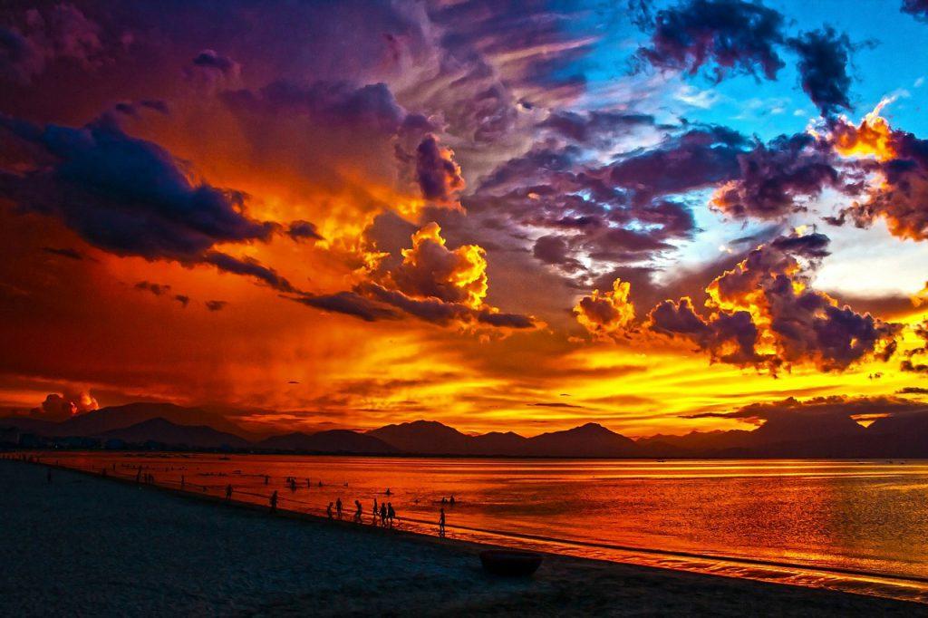 sunset on an expansive ocean